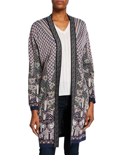 Open-Front Patterned Jacquard Duster and Matching Items