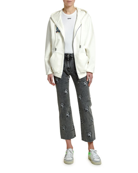 Off-White Arrow Graphic Zip-Front Sweatshirt
