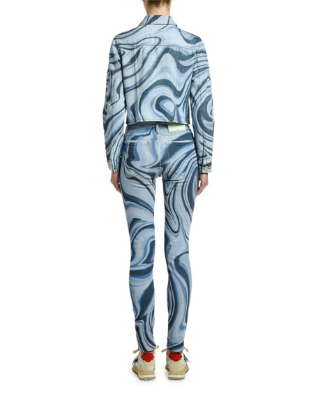 Off-White Psychedelic Bleached Cropped Jean Jacket
