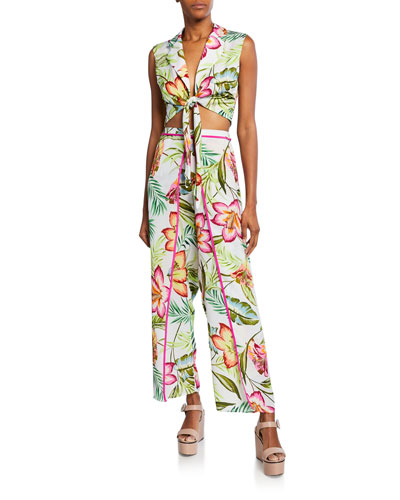 Skyline Floral-Print Tie-Front Crop Top and Matching Items