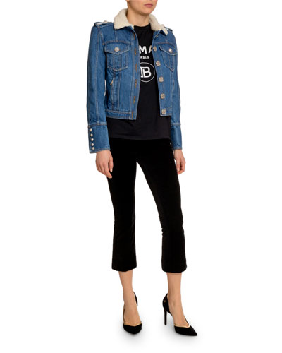 Raw Denim Jacket w/ Faux-Shearling Collar and Matching Items