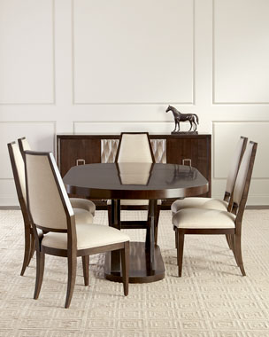 Azzi Buffet Oval Dining Table Arsenio Upholstered Side Chairs Set Of 2