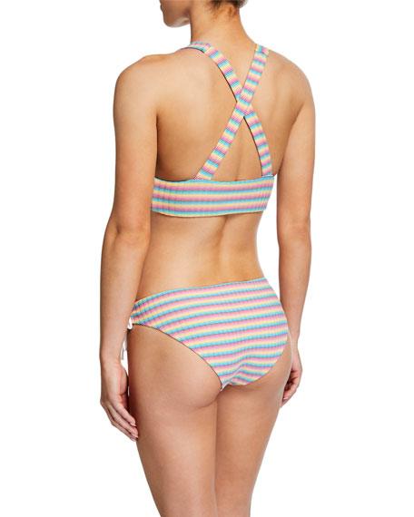 Onia Victoria Striped Lace-Up Bikini Top