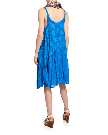 Johnny Was Mia Embroidered Sleeveless Georgette Dress w/ Slip