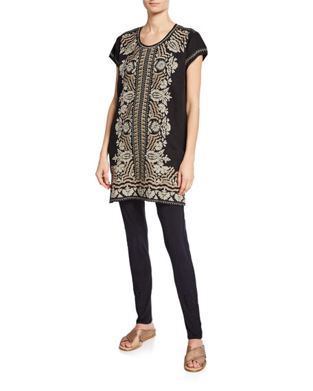 Johnny Was Plus Size Rita Embroidered Short-Sleeve Linen Peasant Tunic Dress
