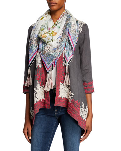 Plus Size Forest Silk Tassel Scarf and Matching Items