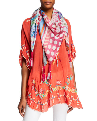 Dakota Embroidered Tie-Neck Poncho Top and Matching Items