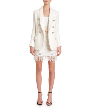 0f5f4554b9dbd Balmain Oversized 6-Button Tweed Blazer Thin-Strapped Fringe Tweed Crop Top  8-