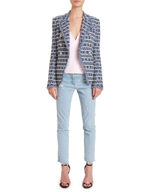 37b25d503023f Balmain 6-Button Frayed Tweed Blazer Jacket Chain-Strapped Laser-Dotted  Tank Washed