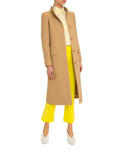 High-Collar Button-Front Coat and Matching Items