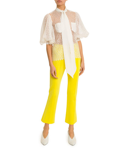 Button Front Pleated Sleeve Blouse and Matching Items