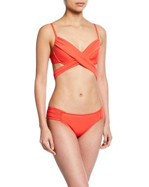 58f736e1d88c8 La Blanca Island Goddess Shirred-Side Hipster Swim Bikini Bottom Island  Wrap Underwire Bikini Top