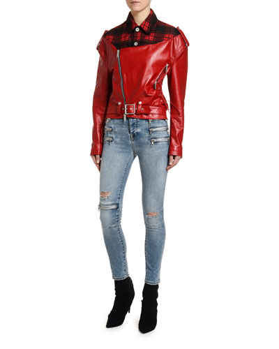 Flannel-Collar Faux-Leather Biker Jacket and Matching Items