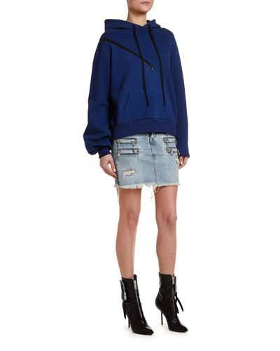 Brushed Terry Diagonal-Zip Hoodie and Matching Items