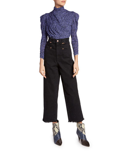 Jalford Animal-Print Ruched Jersey Turtleneck Blouse and Matching Items