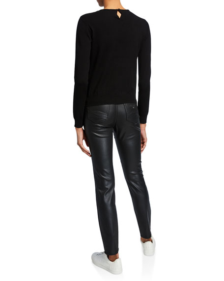 Emporio Armani Camo-Print Silk-Overlay  Sweater