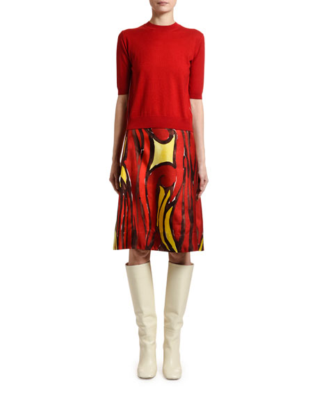 Marni Short-Sleeve Wool-Silk Sweater