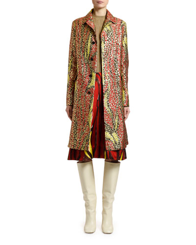 Mulitcolored Brocade Button-Front Coat and Matching Items