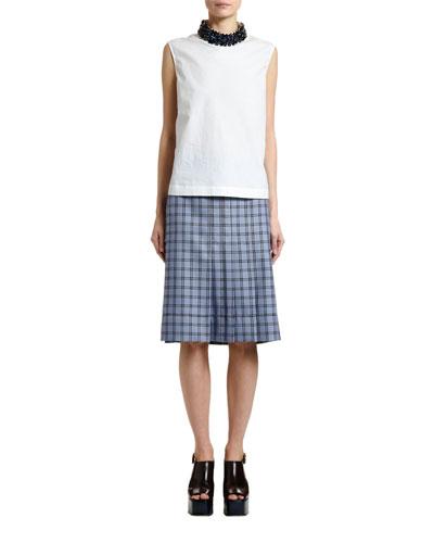 Sleeveless Cotton Poplin Jewel Neck Blouse and Matching Items