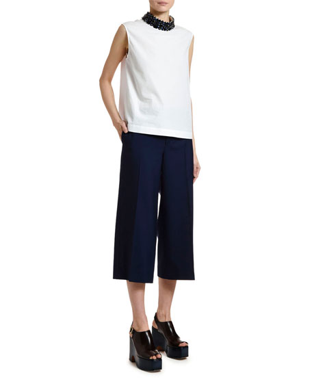 Marni Sleeveless Cotton Poplin Jewel-Neck Blouse