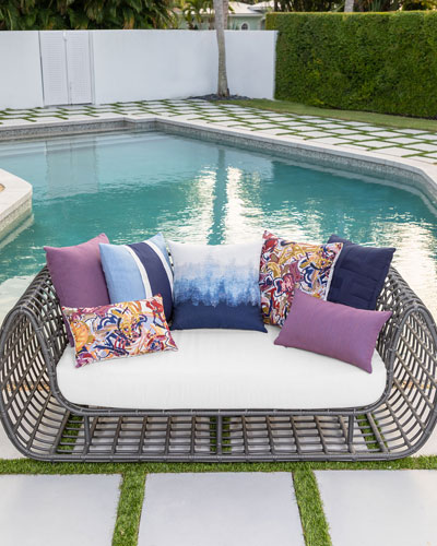 Artful Sunbrella Pillow  Dark Blue  and Matching Items