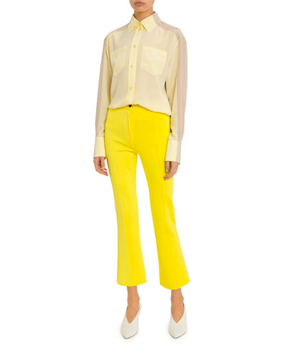 Long Two-Tone Georgette Button-Front Shirt and Matching Items