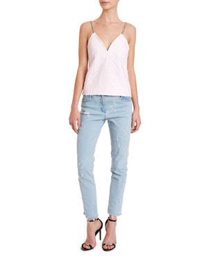fa299fa3105 Balmain Chain-Strapped Laser-Dotted Tank Washed Slim-Fit Distressed Jeans