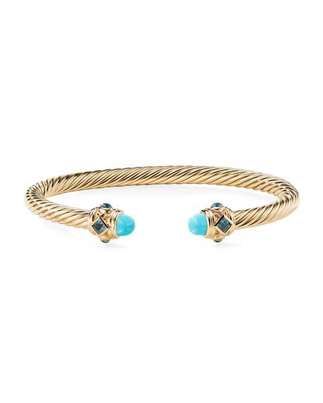 David Yurman Renaissance 18k Gold, Turquoise & Topaz Bracelet, Size M