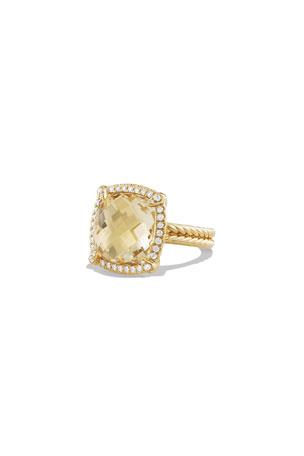 David Yurman 14mm Chatelaine 18K Champagne Citrine Ring with Diamonds, Size 7 14mm Chatelaine 18K Champagne Citrine Ring with Diamonds, Size 8