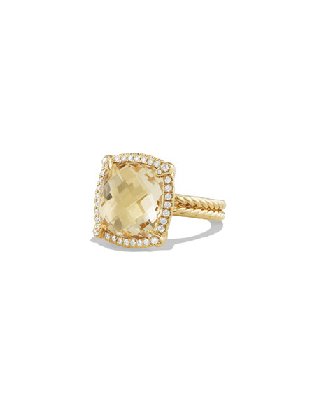 David Yurman 14mm Châtelaine 18K Champagne Citrine Ring with Diamonds, Size 7