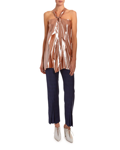 Pontal Draped Metallic-Silk Jacquard Halter Top and Matching Items
