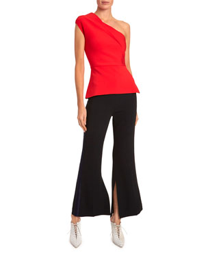 bfe5447b7b Roland Mouret Coson One-Shoulder Cap-Sleeve Blouse Madison Slight Boot-Cut  Tux