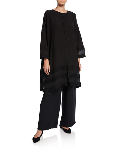 Long Sheer-Paneled Button-Front Shirt and Matching Items