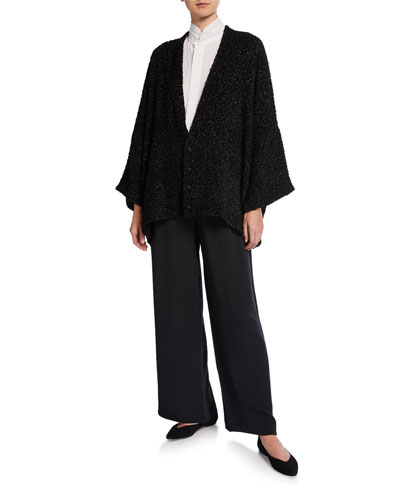 Shimmered Boucle-Wool Button-Front Cardigan and Matching Items