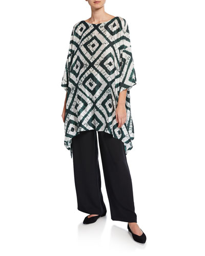 3/4-Sleeve Tie-Dye Silk Long Top and Matching Items