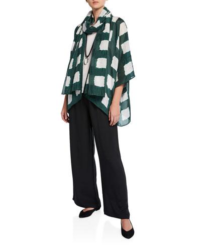 Short-Sleeve Tie-Dye Silk Kimono Jacket and Matching Items