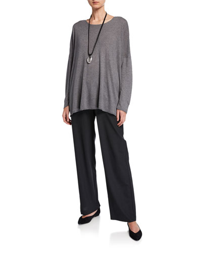 Raw-Edge Bateau-Neck Slim-Sleeve Blouse and Matching Items
