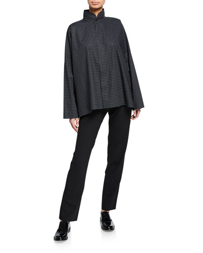 Checkered Long-Back Double-Collar Poplin Shirt and Matching Items