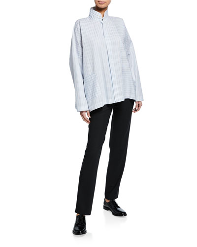 Long-Back Stand-Collar Paneled Shirt and Matching Items