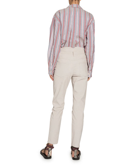Isabel Marant Venice Striped Long-Sleeve Button-Down Shirt