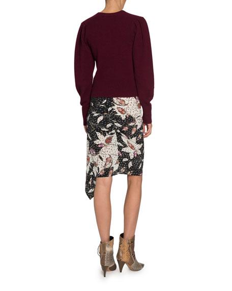 Isabel Marant Colroy Crewneck Puff-Shoulder Long-Sleeve Cashmere Sweater