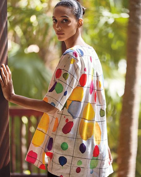 Caroline Rose Paint Box Printed Elbow-Sleeve Linen Tunic