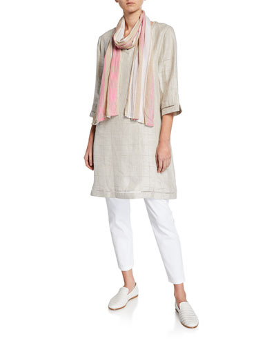 Gessa Checkered 3/4-Sleeve Linen Tunic and Matching Items