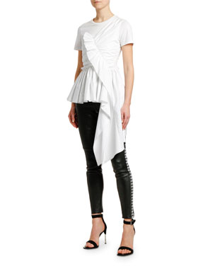 f06cbc7c4ced5 Alexander McQueen Ruffled Front Draped Cotton Jersey T-shirt  Houndstooth-Striped Stretch-Leather