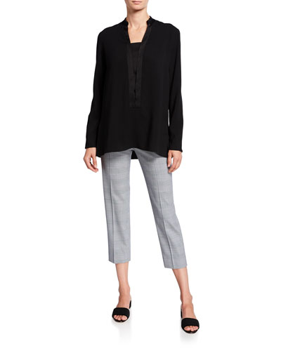 Satin-Trim V-Neck Georgette Tunic, Black and Matching Items
