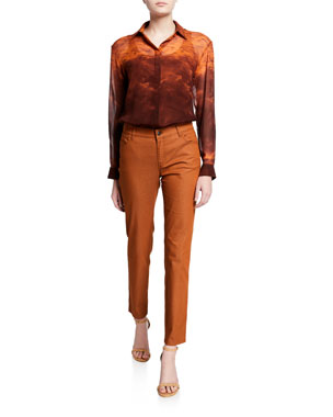 e404967708a Lafayette 148 New York Zora Sunset Sky Silk Button-Down Blouse Mercer Primo  Stretch-. Favorite. Quick Look