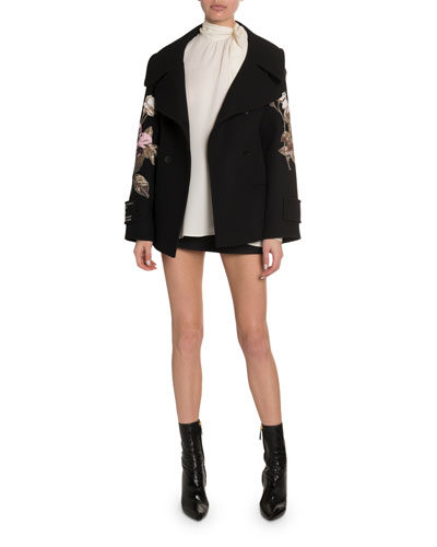 Rose Embroidered Open-Collar Coat and Matching Items