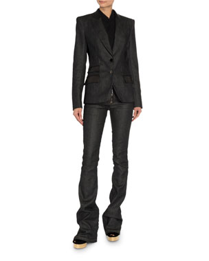 483ebd9ca81 TOM FORD Leather-Trim Denim Blazer Convertible Cashmere Wrapped Boyfriend  Shirt Zip-Front Flare