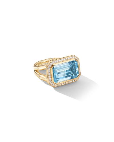 Novella 18k Gold 16mm Blue Topaz Ring w/ Diamonds  Size 6 and Matching Items