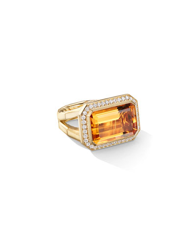 Novella 18k Gold 16mm Citrine Ring w/ Diamonds  Size 7 and Matching Items